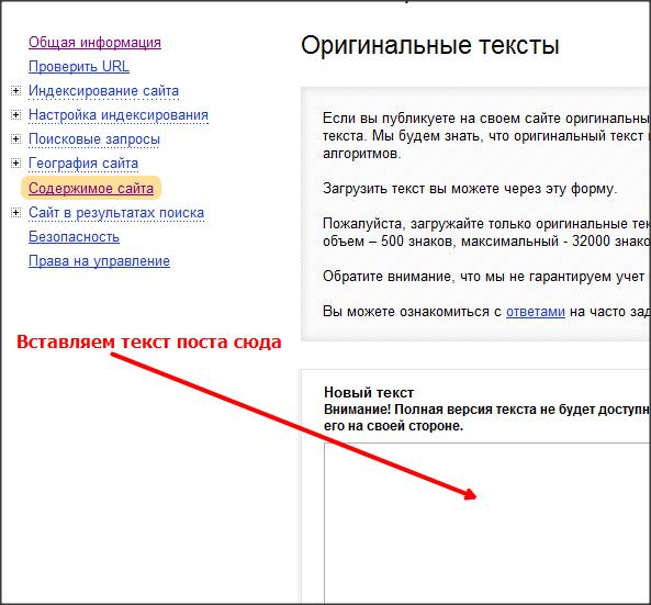 добавляем оригинальный текст в Яндекс