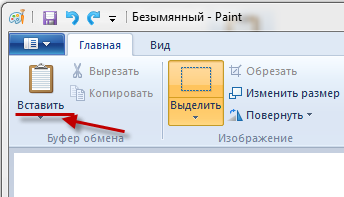 paint вставить скриншот
